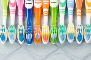 A variety of toothbrushes